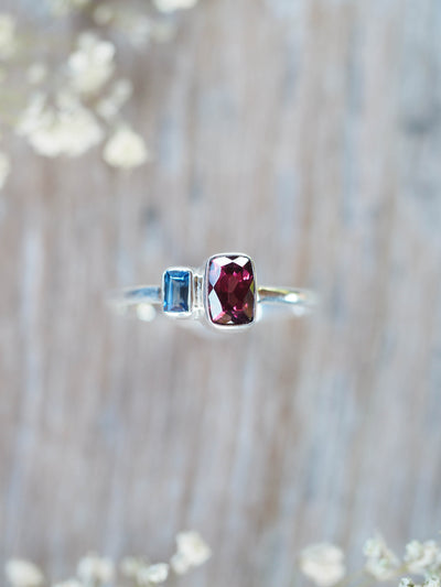 Garnet and Blue Sapphire Ring - Gardens of the Sun Jewelry