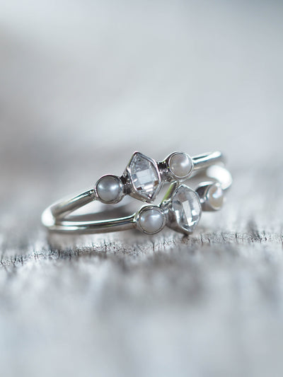 AA ANNISA Pearl and Herkimer Diamond Ring - Gardens of the Sun Jewelry