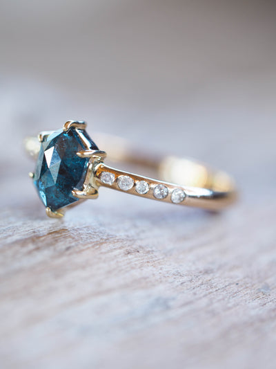 Blue Hexagon Diamond Ring - Gardens of the Sun Jewelry