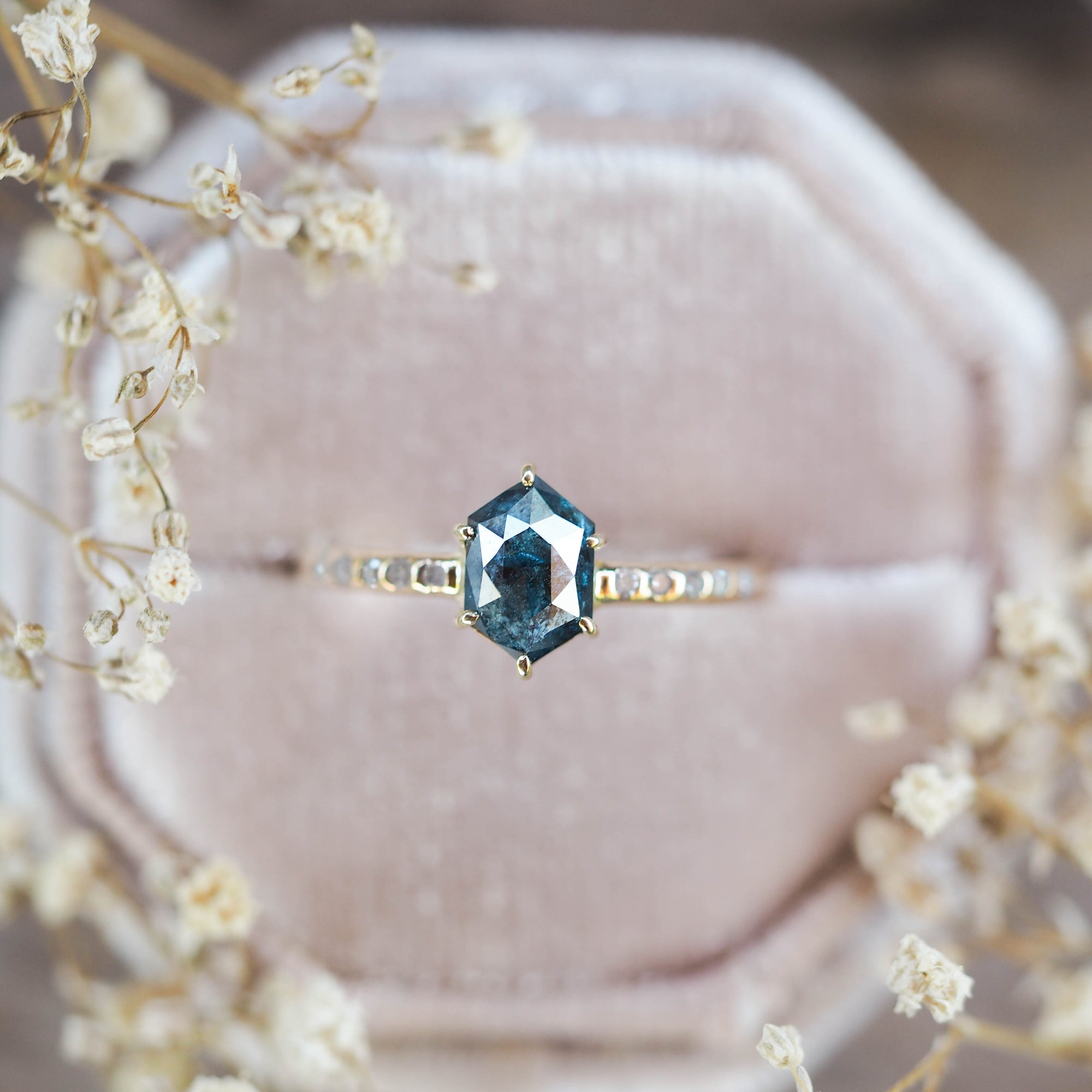 Blue Hexagon Diamond Ring