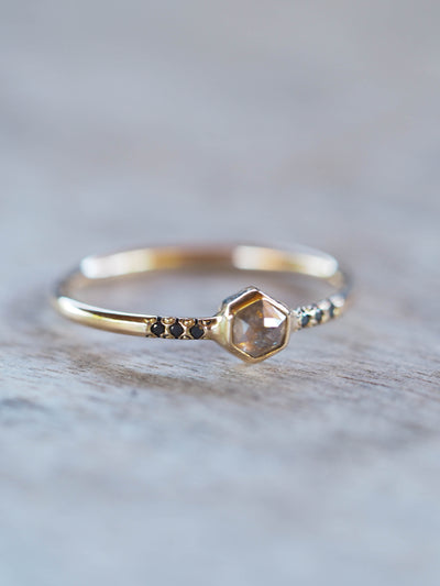 Custom Small Hexagon Diamond Ring