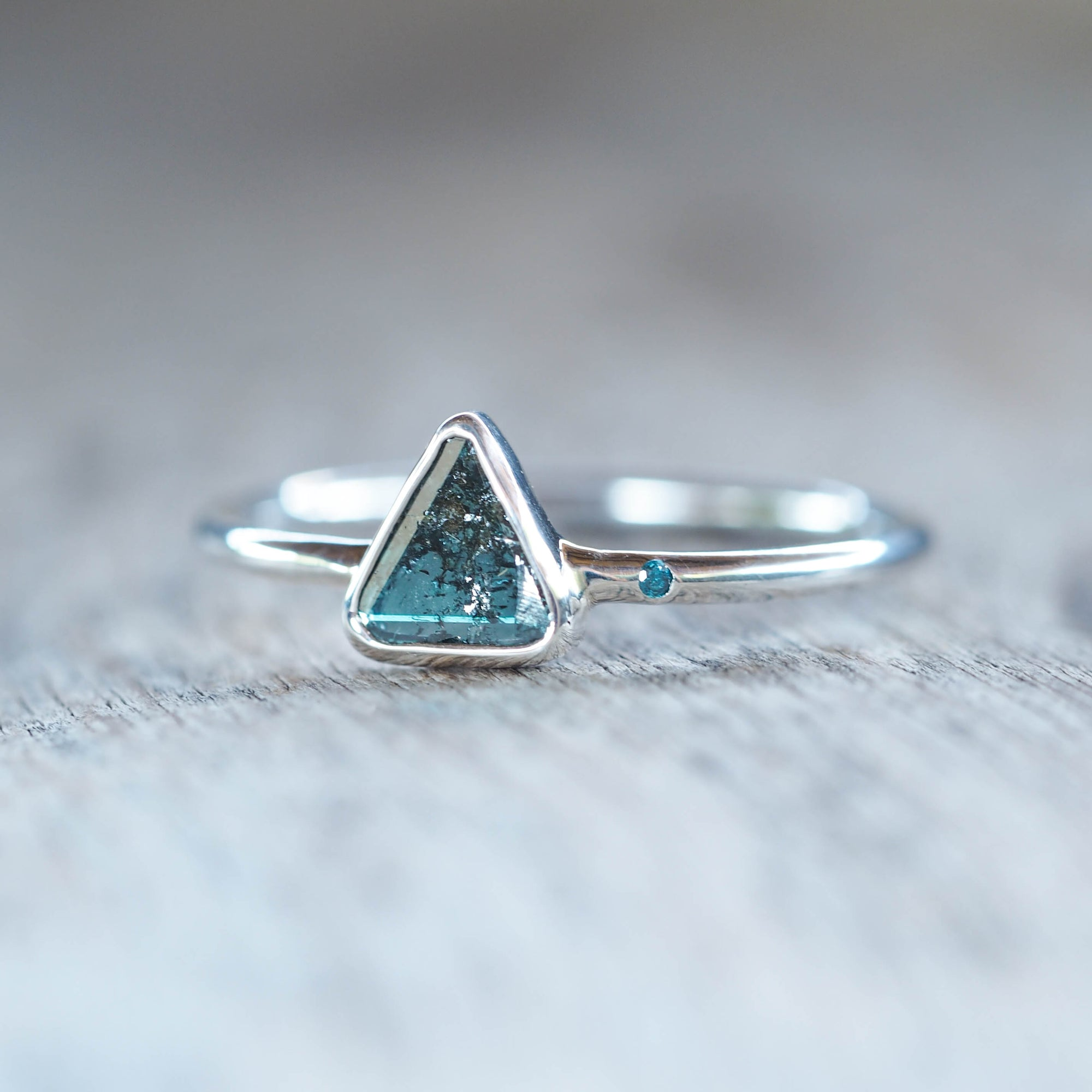 Blue Diamond Slice Ring