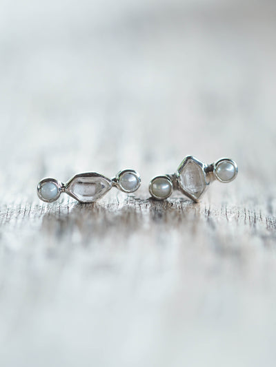 Pearl and Herkimer Diamond Earrings
