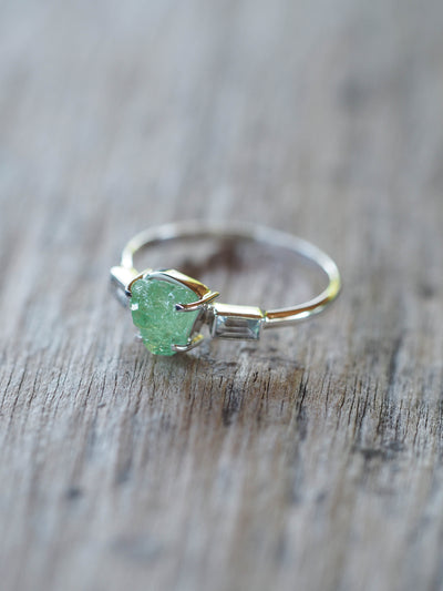 Merelani Mint Garnet and Aquamarine Ring