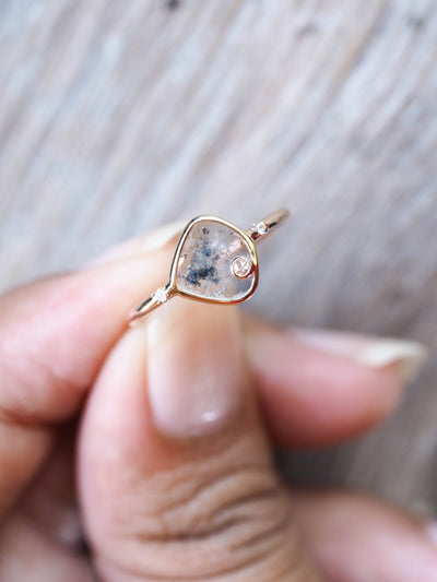 Salt and Pepper Diamond Slice Ring | Build Your Own