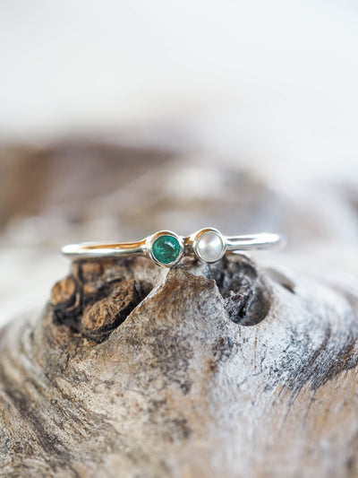 AA STYLE TIP Pearl and Emerald Ring - Gardens of the Sun Jewelry