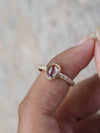 Rose Cut Morganite and Diamond Ring in Rose Gold