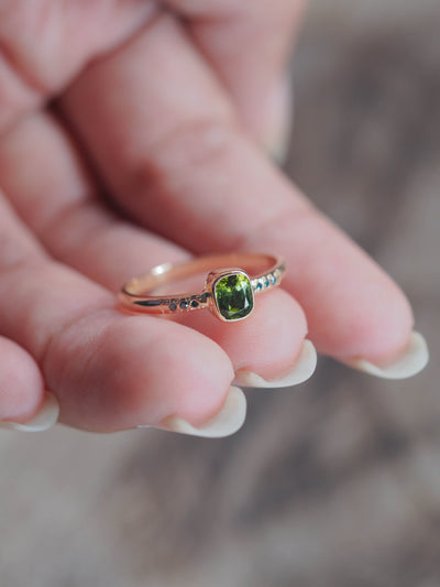 AA Green Tourmaline and Blue Diamond Ring - Gardens of the Sun Jewelry