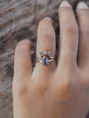 AA SKU SIZE Grey Hexagon Diamond Crown Ring Set - Gardens of the Sun Jewelry