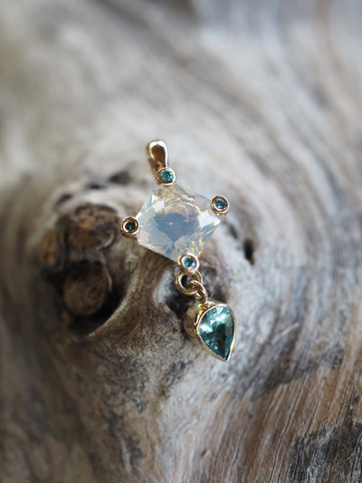AA Opal, Sapphire and Diamond Pendant in Gold - Gardens of the Sun Jewelry