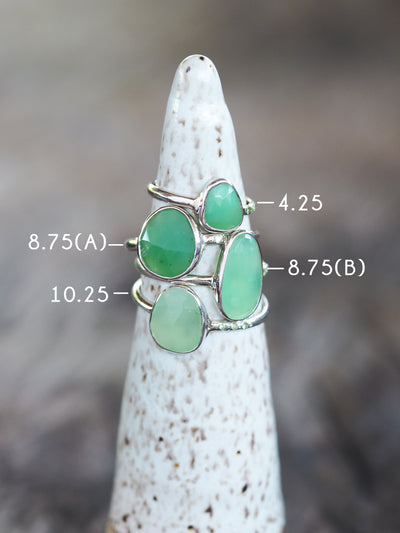 Chrysoprase and Tsavorite Garnet Ring