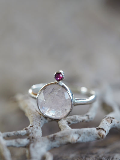 Pale sapphire and pink tourmaline ring