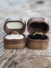 Vintage Oval Wooden Ring Box in Walnut