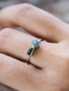 Aquamarine Crystal and Tourmaline Ring - Gardens of the Sun Jewelry