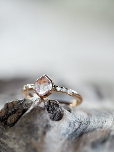 AA Pink Montana Sapphire Ring in Rose Gold - Gardens of the Sun Jewelry