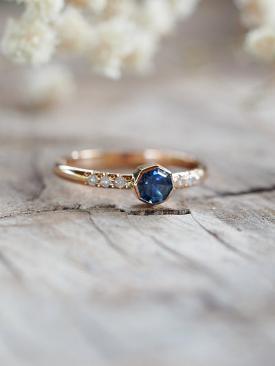 AA Blue Montana Sapphire and Diamond Ring - Gardens of the Sun Jewelry