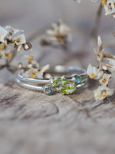 Emerald and Peridot Ring