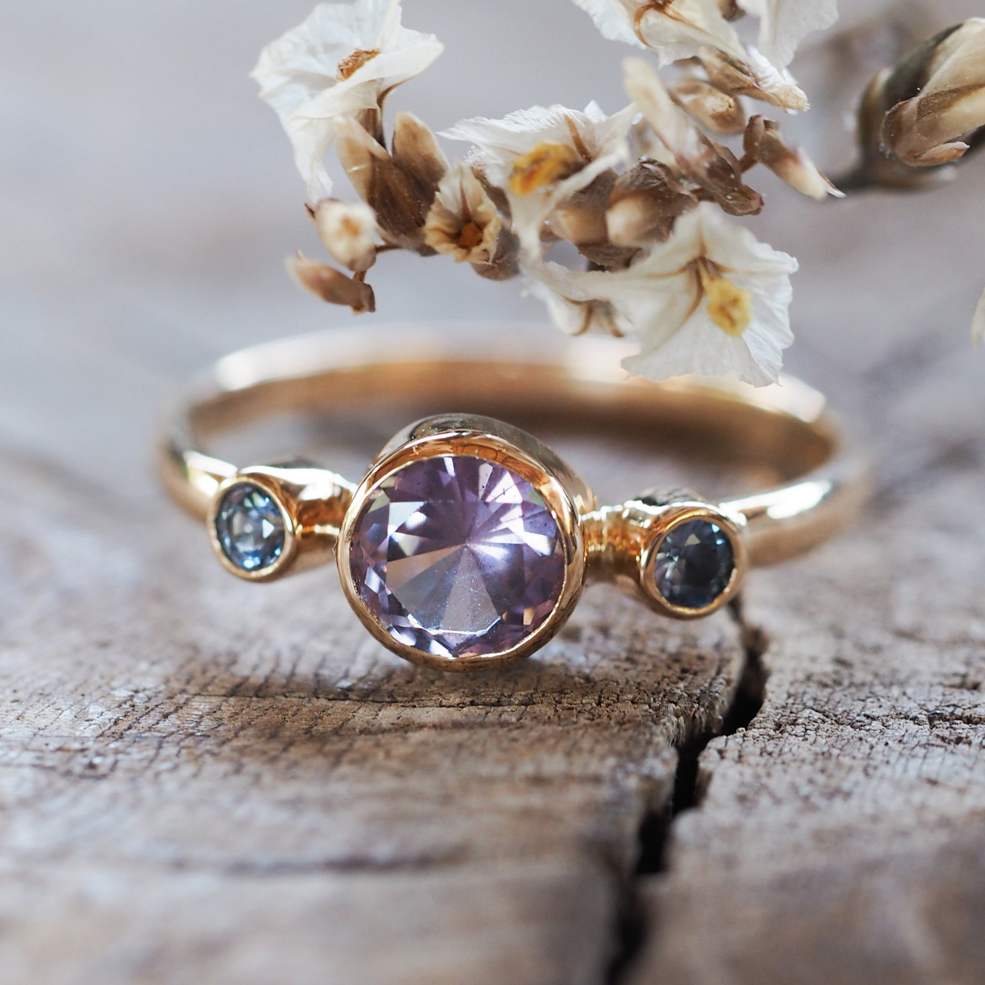 Custom Lavender Ceylon Sapphire Ring in Gold - Gardens of the Sun Jewelry