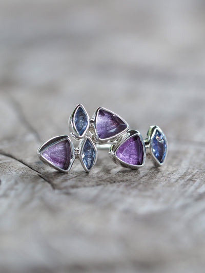 Amethyst and Tanzanite Single Earring - Gardens of the Sun Jewelry