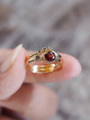 AA Meri check Raspberry Garnet and Diamond Ring Set - Gardens of the Sun Jewelry