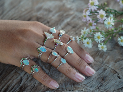 Custom Solid Opal Ring or Necklace in Silver