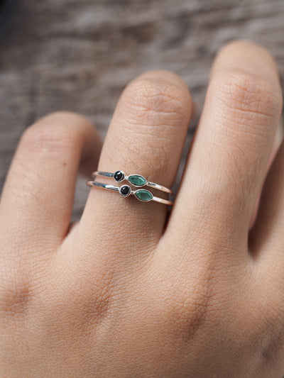 AA Emerald and Color Change Garnet Ring - Gardens of the Sun Jewelry