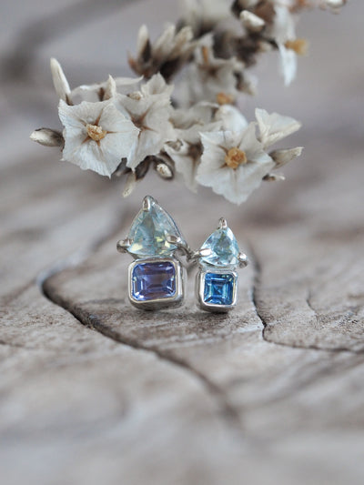 Tanzanite and Blue Topaz Earrings