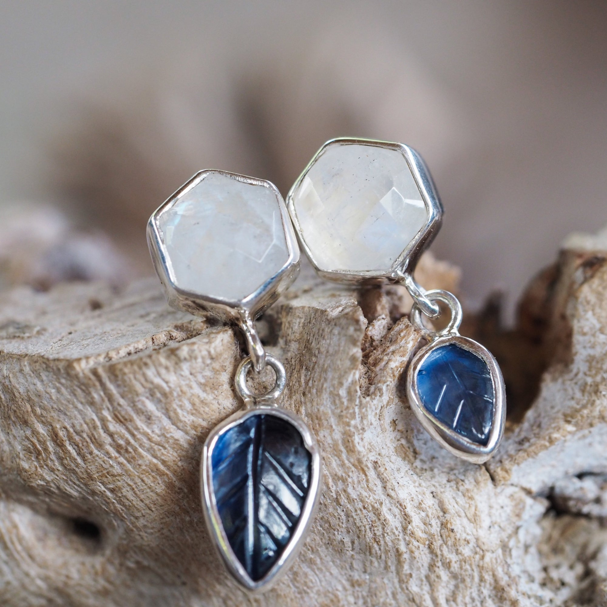 Hexagon Moonstone and Sapphire Leaf Earrings