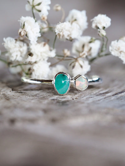AA Meri check + price Emerald and Hexagon Opal Ring - Gardens of the Sun Jewelry