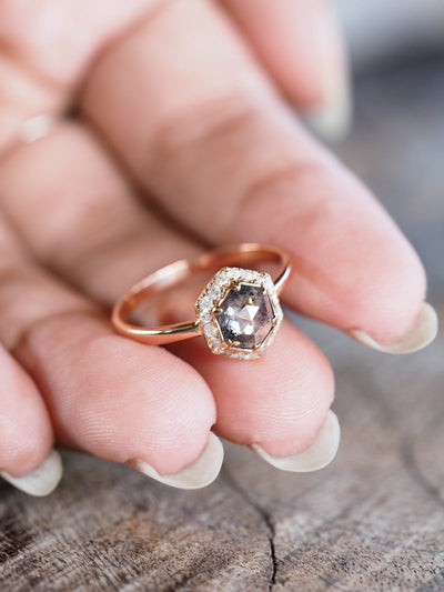 Hexagon Salt and Pepper Ring in Rose Gold