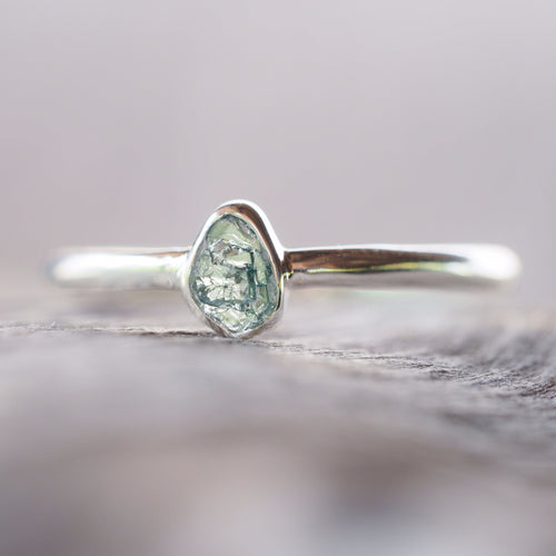 Rough Blue Diamond Slice Ring