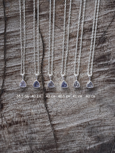 AA Meri check Dainty Tanzanite Necklace - Gardens of the Sun Jewelry