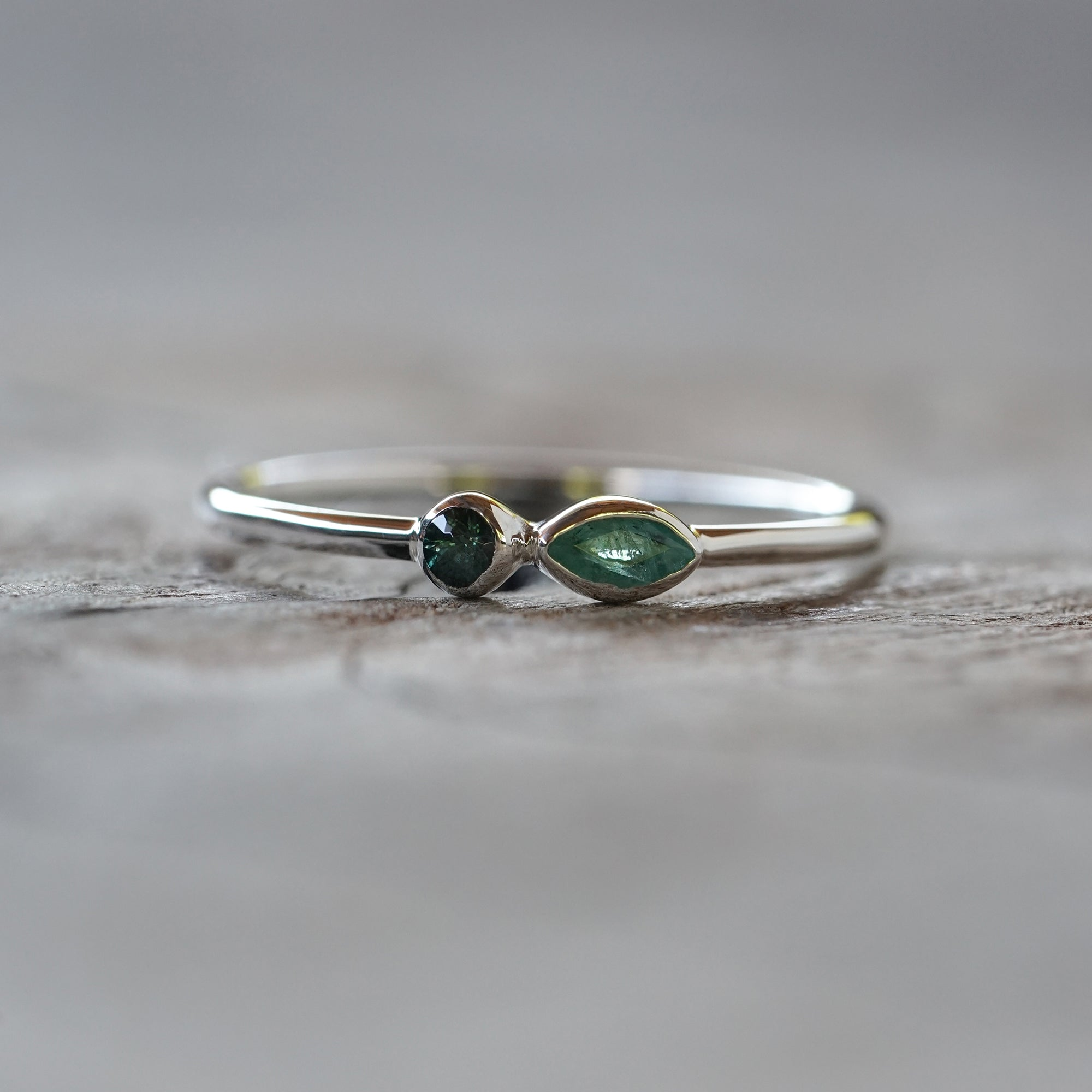 Emerald and Color Change Garnet Ring