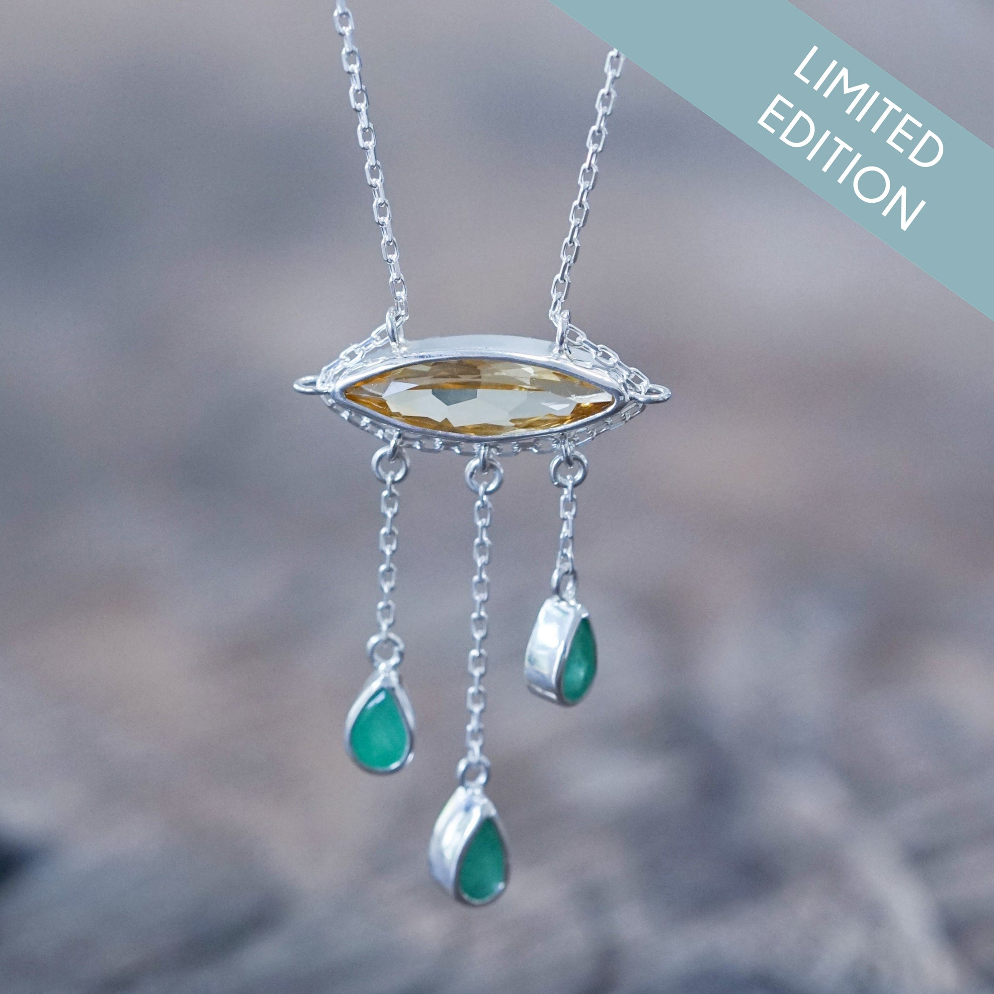 Sunshine And Rain Citrine and Emerald Necklace