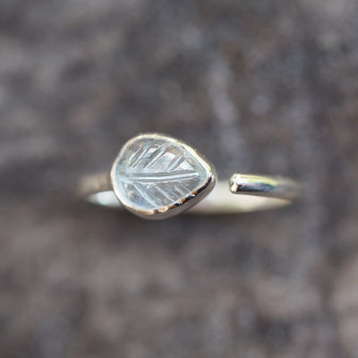 AA Open Aquamarine Leaf Ring - Gardens of the Sun Jewelry