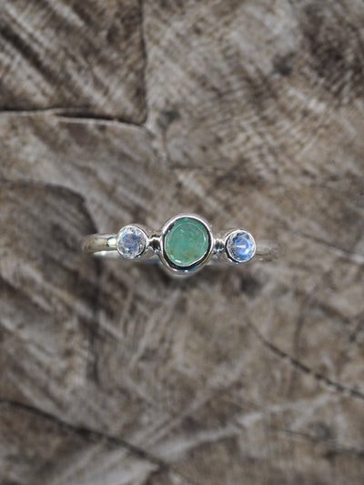 AA MERI check + price Rose cut Emerald and Double Moonstone Ring - Gardens of the Sun Jewelry