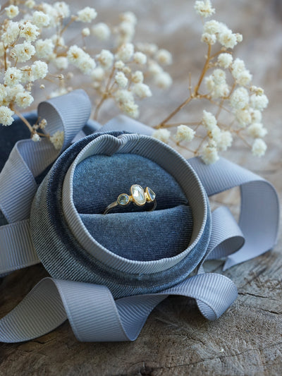 Velvet Ring Box with Ribbon