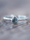Rose Cut Pear Diamond Ring in Eco Silver