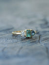 Emerald, Sapphire and Borneo Diamond Ring in Eco Gold