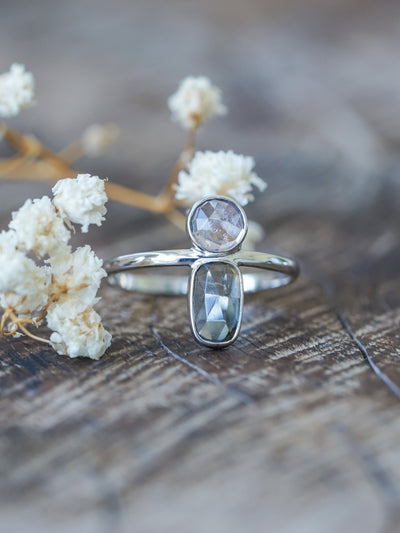 Grey and Lavender Tourmaline Ring in White Gold