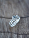Salt and Pepper Shield Diamond Ring Set
