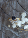 Sapphire and Moonstone Ring Set in Gold