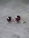 Hexagon Garnet and Ruby Earrings