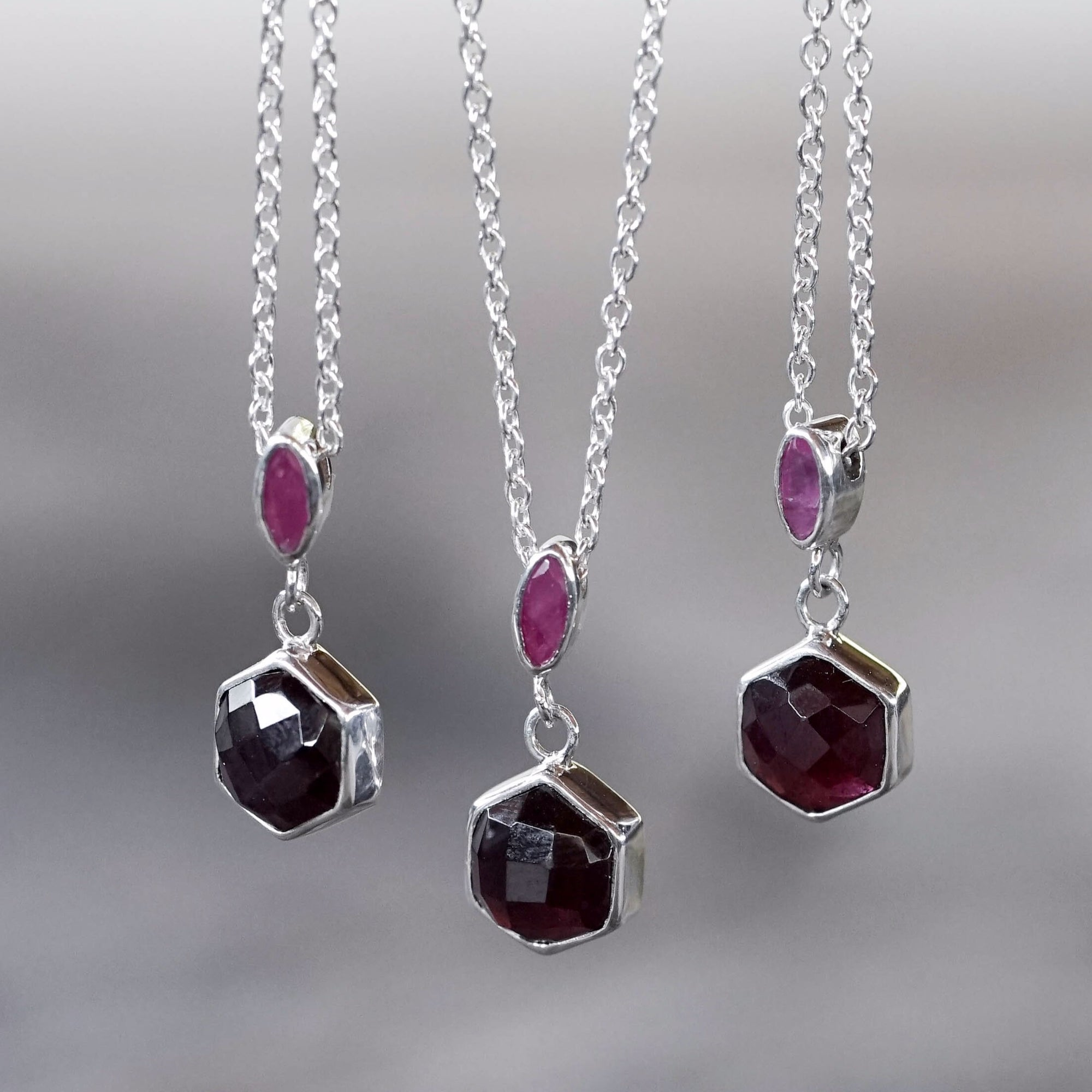 Hexagon Garnet and Ruby Necklace