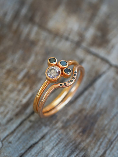 Pink and Black Diamond Ring Set in Rose Gold