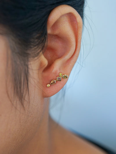 Mismatched Fall Diamond Earrings in Yellow Gold