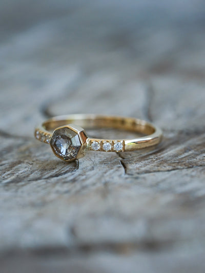 Champagne Octagon Diamond Ring in Eco Gold