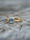 Bicolor Blue Sapphire Ring in Eco Gold