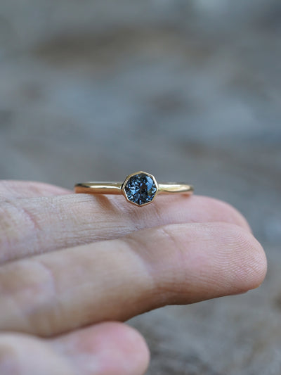 Octagon Spinel Ring in Eco Gold