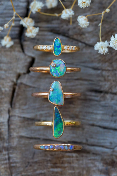 Peacock Opal and Diamond Ring in Rose Gold